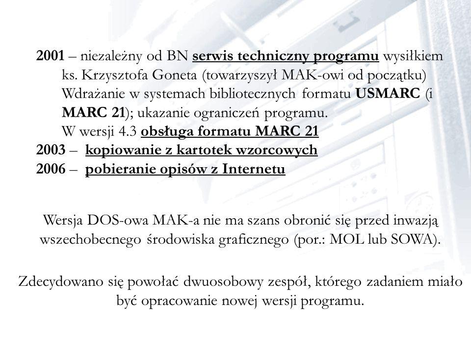2001 – niezależny od BN serwis techniczny programu wysiłkiem ks. Krzysztofa Goneta (towarzyszył MAK-owi od początku) Wdrażanie w systemach biblioteczn