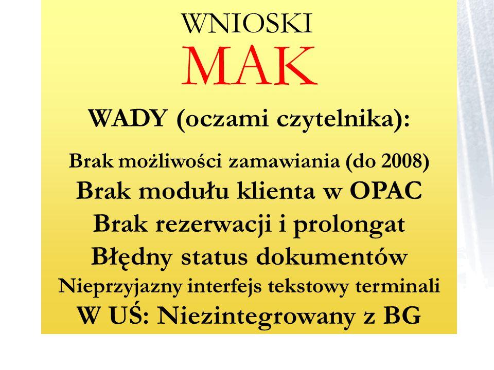 MAK WADY (oczami czytelnika): Brak możliwości zamawiania (do 2008) Brak modułu klienta w OPAC Brak rezerwacji i prolongat Błędny status dokumentów Nie
