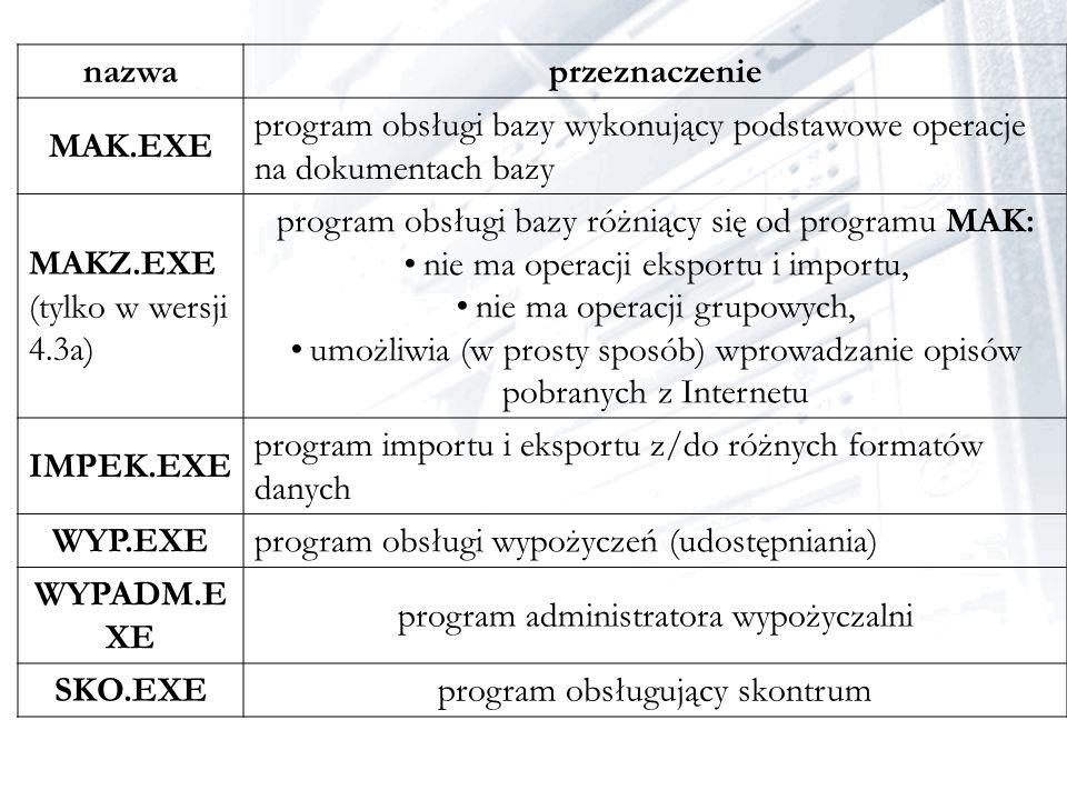 nazwaprzeznaczenie MAK.EXE program obsługi bazy wykonujący podstawowe operacje na dokumentach bazy MAKZ.EXE (tylko w wersji 4.3a) program obsługi bazy