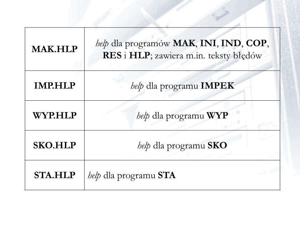 MAK.HLP help dla programów MAK, INI, IND, COP, RES i HLP; zawiera m.in. teksty błędów IMP.HLPhelp dla programu IMPEK WYP.HLPhelp dla programu WYP SKO.