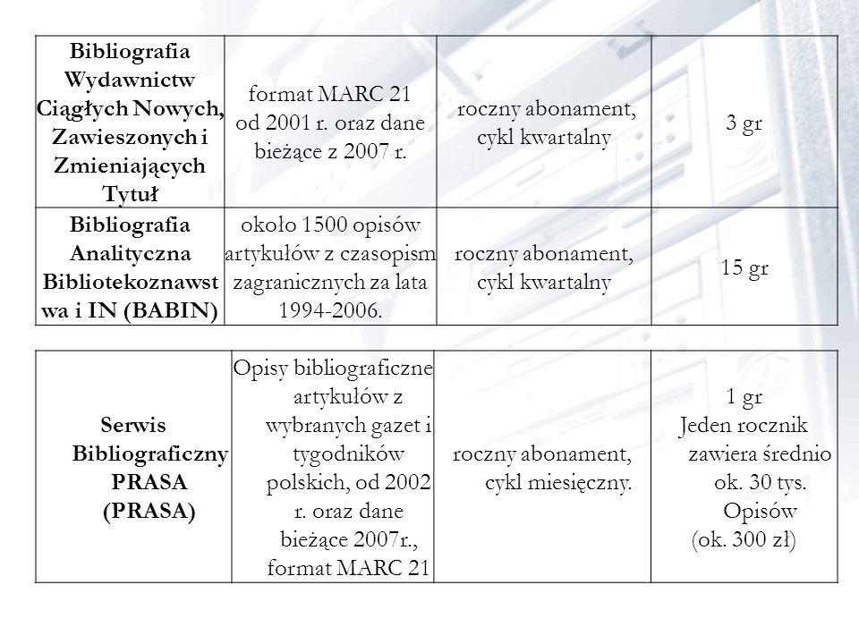 Bibliografia Wydawnictw Ciągłych Nowych, Zawieszonych i Zmieniających Tytuł format MARC 21 od 2001 r. oraz dane bieżące z 2007 r. roczny abonament, cy