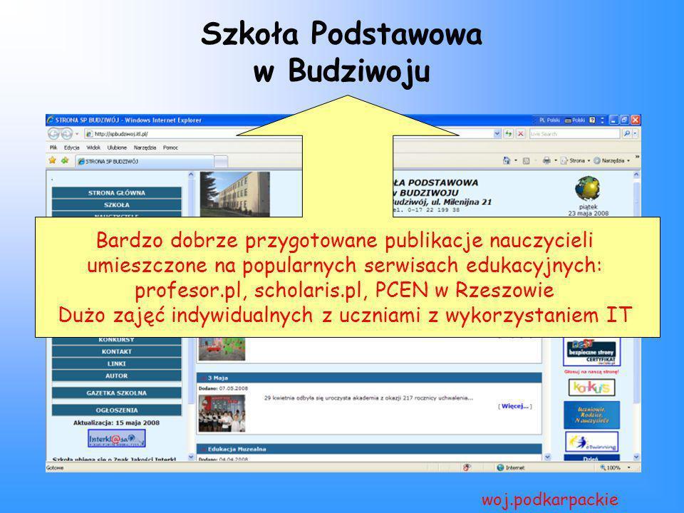 Szkoła Podstawowa w Budziwoju woj.podkarpackie Bardzo dobrze przygotowane publikacje nauczycieli umieszczone na popularnych serwisach edukacyjnych: pr