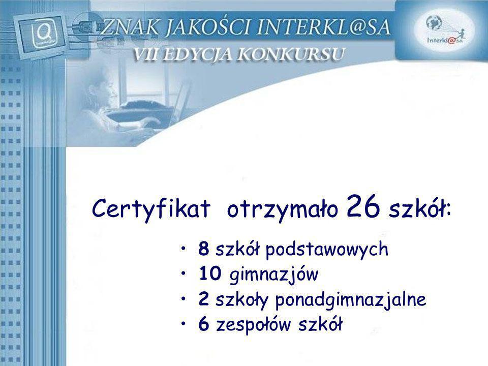 Certyfikat otrzymało 26 szkół: 8 szkół podstawowych 10 gimnazjów 2 szkoły ponadgimnazjalne 6 zespołów szkół