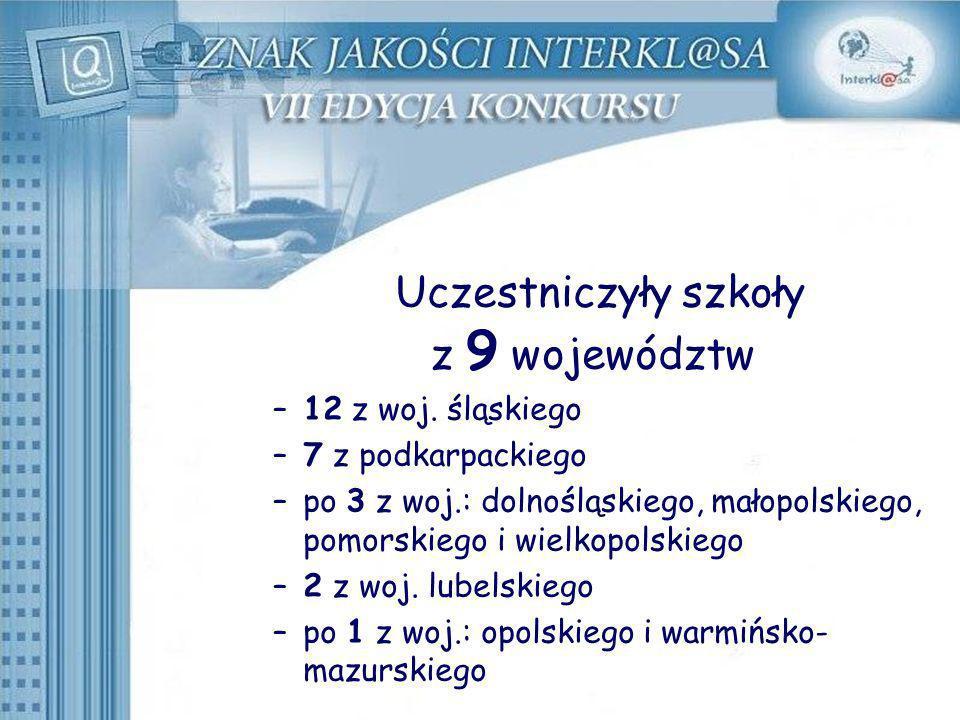 Uczestniczyły szkoły z 9 województw –12 z woj. śląskiego –7 z podkarpackiego –po 3 z woj.: dolnośląskiego, małopolskiego, pomorskiego i wielkopolskieg