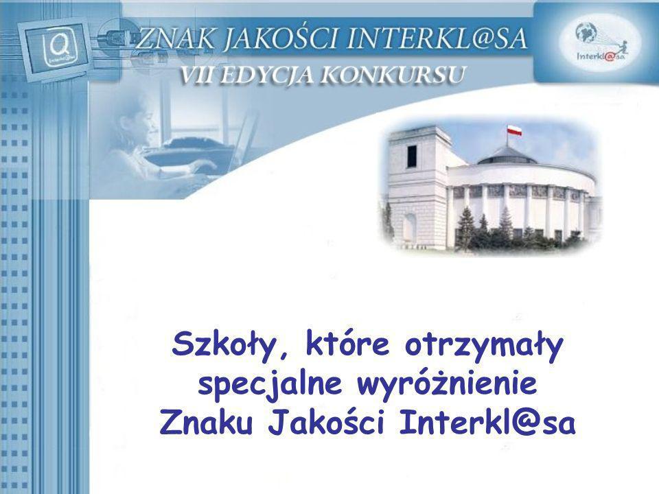 Szkoły, które otrzymały specjalne wyróżnienie Znaku Jakości Interkl@sa