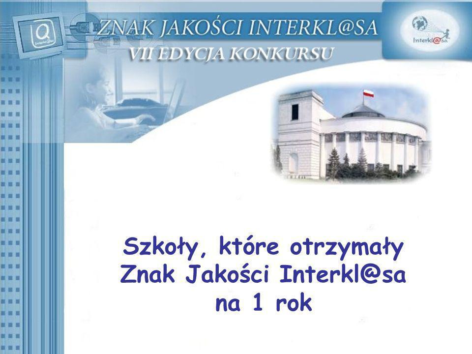 Szkoły, które otrzymały Znak Jakości Interkl@sa na 1 rok