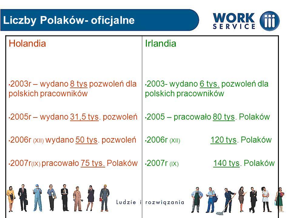 Liczby Polaków- oficjalne Holandia 2003r – wydano 8 tys pozwoleń dla polskich pracowników 2005r – wydano 31,5 tys. pozwoleń 2006r (XII) wydano 50 tys.