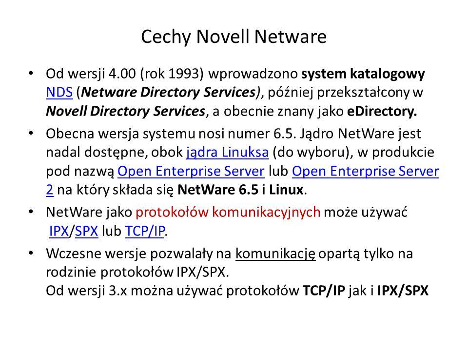 Cechy Novell Netware Od wersji 4.00 (rok 1993) wprowadzono system katalogowy NDS (Netware Directory Services), później przekształcony w Novell Directo