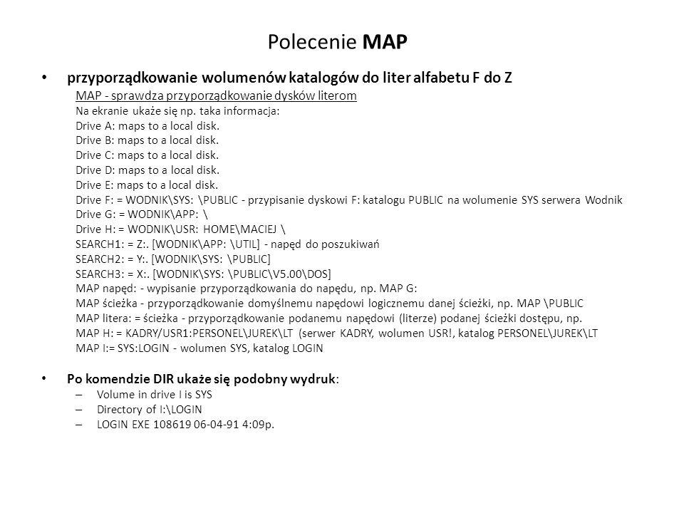 Polecenie MAP przyporządkowanie wolumenów katalogów do liter alfabetu F do Z MAP - sprawdza przyporządkowanie dysków literom Na ekranie ukaże się np.