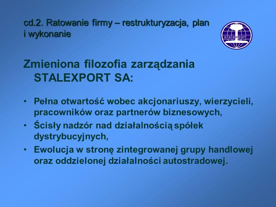 cd.2. Ratowanie firmy – restrukturyzacja, plan i wykonanie Zmieniona filozofia zarządzania STALEXPORT SA: Pełna otwartość wobec akcjonariuszy, wierzyc