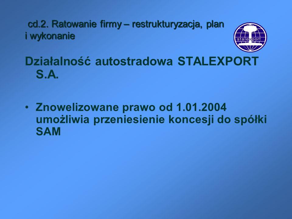 cd.2. Ratowanie firmy – restrukturyzacja, plan i wykonanie cd.2. Ratowanie firmy – restrukturyzacja, plan i wykonanie Działalność autostradowa STALEXP
