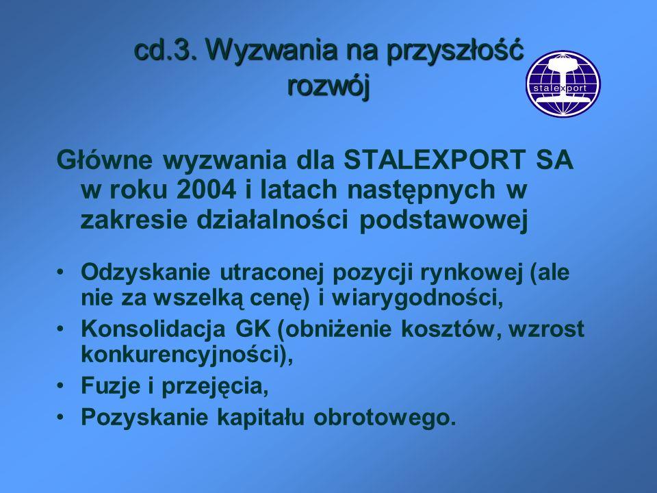 cd.3. Wyzwania na przyszłość rozwój Główne wyzwania dla STALEXPORT SA w roku 2004 i latach następnych w zakresie działalności podstawowej Odzyskanie u