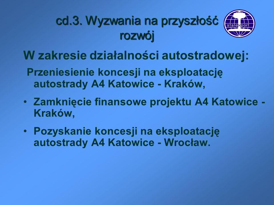 cd.3. Wyzwania na przyszłość rozwój W zakresie działalności autostradowej: Przeniesienie koncesji na eksploatację autostrady A4 Katowice - Kraków, Zam