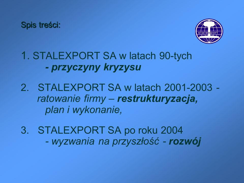Spis treści: 1. STALEXPORT SA w latach 90-tych - przyczyny kryzysu 2. STALEXPORT SA w latach 2001-2003- ratowanie firmy – restrukturyzacja, plan i wyk