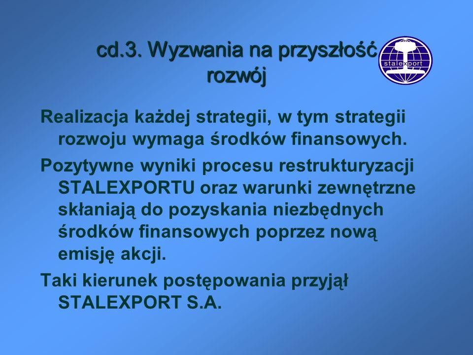 cd.3. Wyzwania na przyszłość rozwój Realizacja każdej strategii, w tym strategii rozwoju wymaga środków finansowych. Pozytywne wyniki procesu restrukt