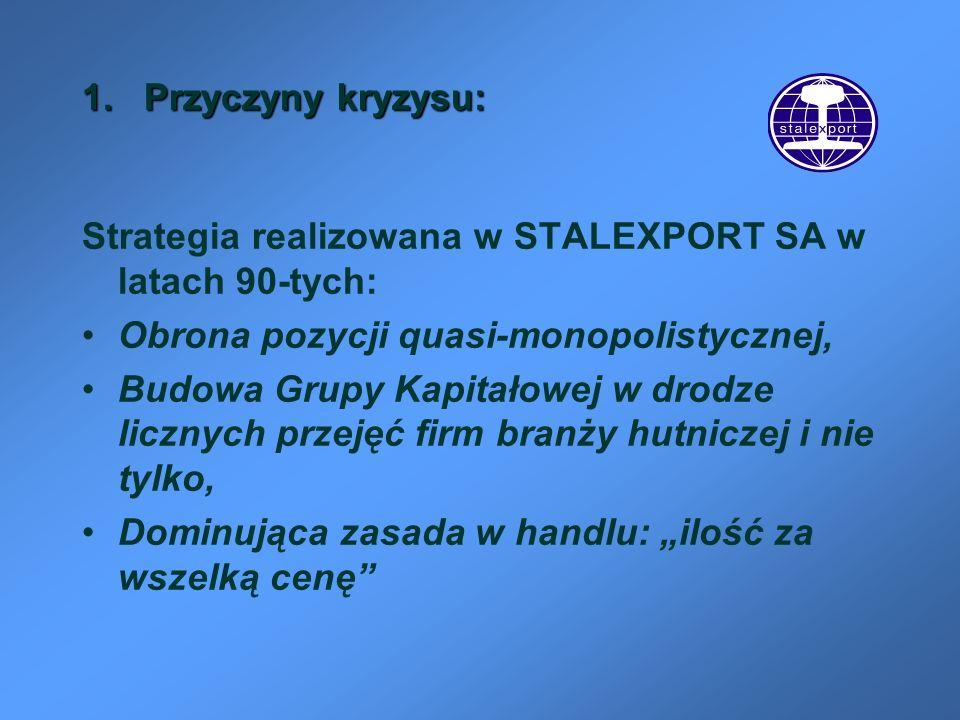 1. Przyczyny kryzysu: Strategia realizowana w STALEXPORT SA w latach 90-tych: Obrona pozycji quasi-monopolistycznej, Budowa Grupy Kapitałowej w drodze