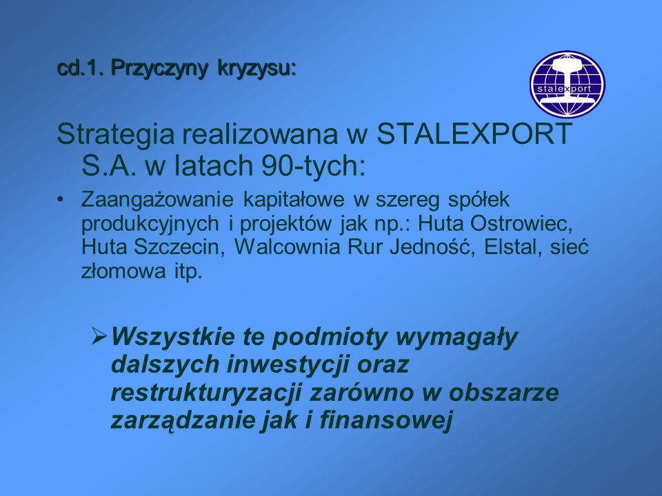 cd.1. Przyczyny kryzysu: Strategia realizowana w STALEXPORT S.A. w latach 90-tych: Zaangażowanie kapitałowe w szereg spółek produkcyjnych i projektów
