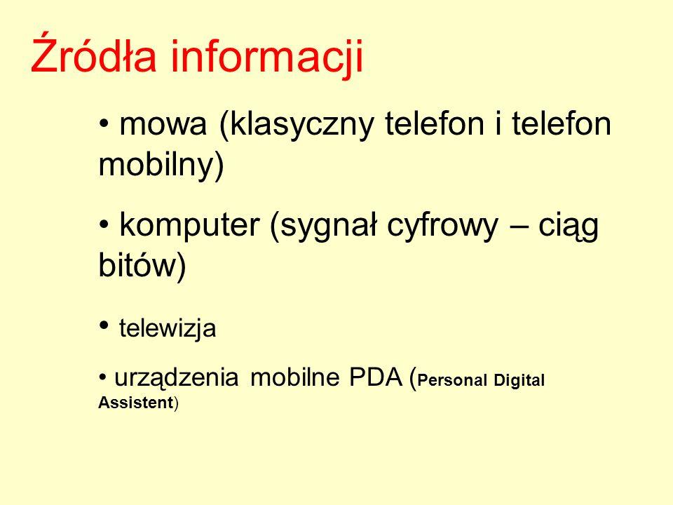 Źródła informacji mowa (klasyczny telefon i telefon mobilny) komputer (sygnał cyfrowy – ciąg bitów) telewizja urządzenia mobilne PDA ( Personal Digita