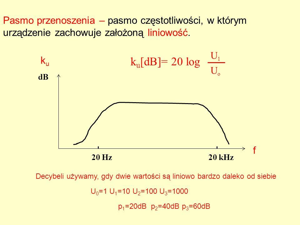 Pasmo przenoszenia – pasmo częstotliwości, w którym urządzenie zachowuje założoną liniowość. dB 20 Hz20 kHz k u [dB]= 20 log U1U1 UoUo Decybeli używam