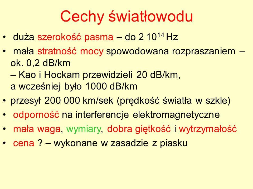Cechy światłowodu duża szerokość pasma – do 2. 10 14 Hz mała stratność mocy spowodowana rozpraszaniem – ok. 0,2 dB/km – Kao i Hockam przewidzieli 20 d