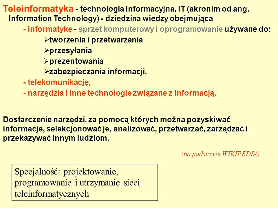 Teleinformatyka - technologia informacyjna, IT (akronim od ang. Information Technology) - dziedzina wiedzy obejmująca - informatykę - sprzęt komputero