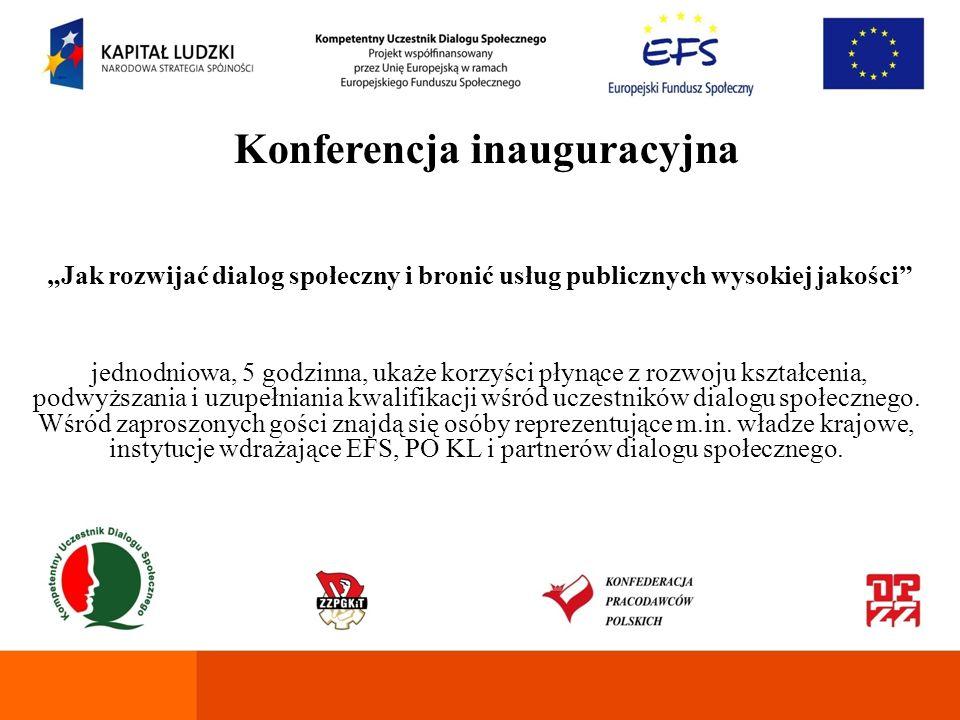 Konferencja podsumowująca Jednodniowa, 5 godzinna, prezentująca wartości wynikających ze zbliżenia środowisk pracodawców i pracobiorców korzystających z form edukacji w ramach projektu.
