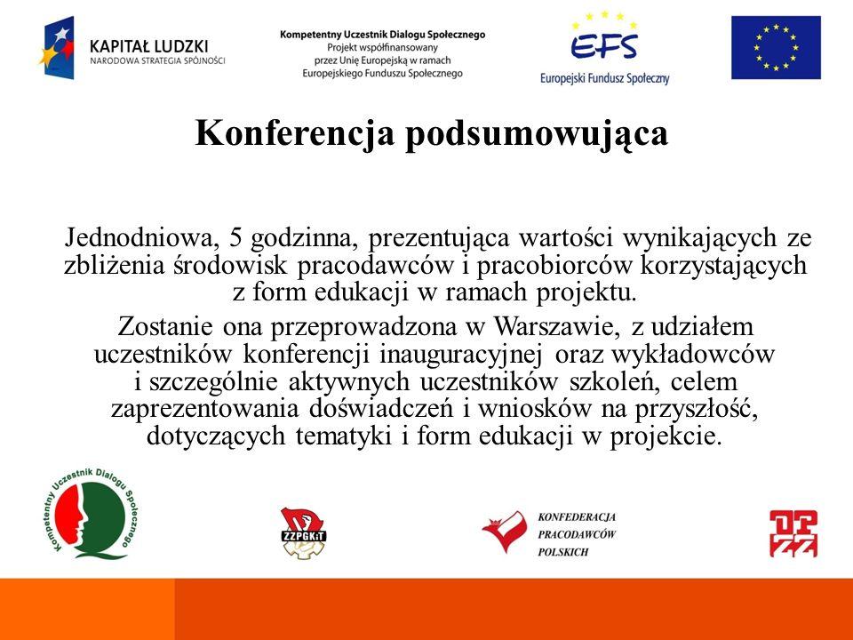Konferencja Budowa Regionalnego Forum Dialogu Społecznego jednodniowa, 5 godzinna,dla trzech grup, każda po 50 osób, w celu wymiany doświadczeń w zakresie dialogu społecznego, edukacji działaczy związkowych i przedstawicieli pracodawców, rozpoczęcia dyskusji nad budowaniem forum wymiany doświadczeń przez Międzywojewódzkie Zarządy FZZPGKiT z przedstawicielami OPZZ, NSZZ Solidarność, FZZ i KPP.