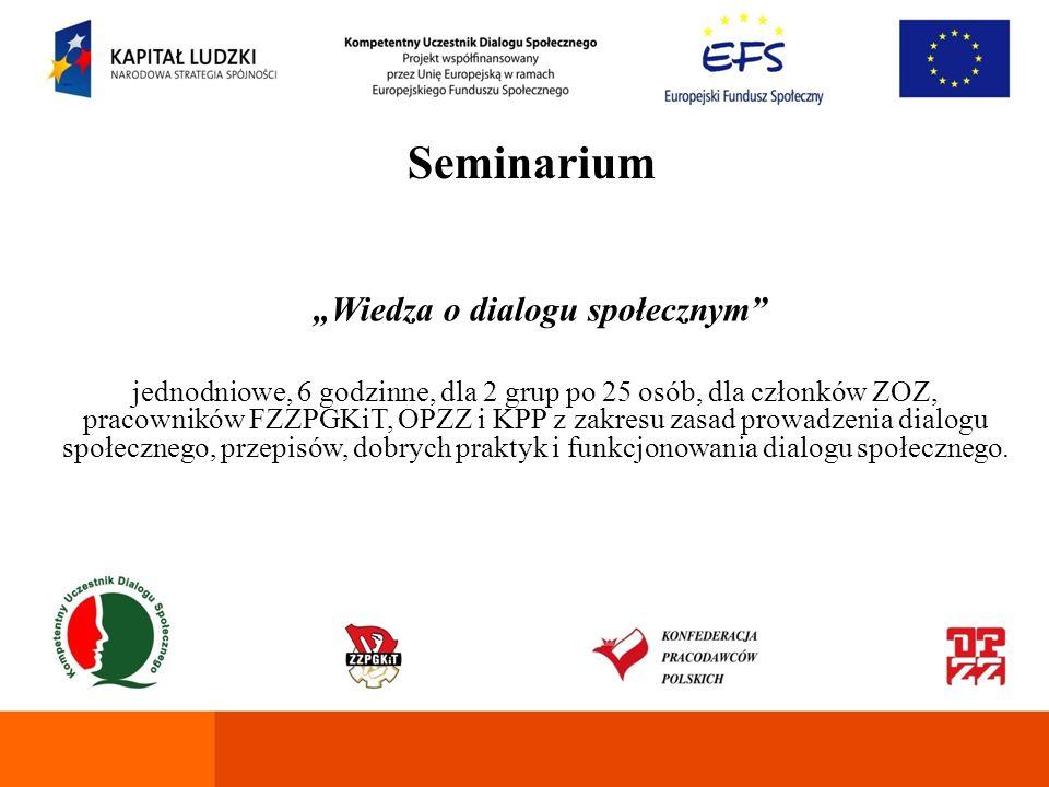 Seminarium Przyszłość Europejskiego Dialogu Społecznego jednodniwe, 6 godzinne, dla 2 grup po 25 osób, dla członków ZOZ i pracowników FZZPGKiT, OPZZ i KPP w zakresie roli Europejskiej Federacji Związków Zawodowych Pracowników Sektora Publicznego (EPSU) i Europejskiej Konfederacji Związków Zawodowych (EKZZ) w europejskim dialogu społecznym.