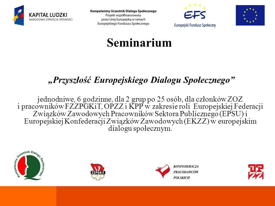 Seminarium Zasady funkcjonowania Rad Pracowników i Europejskich Rad Zakładowych dwudniowe, 14 godzinne, dla 2 grup po 25 osób, w zakresie zasad prowadzenia europejskiego dialogu społecznego, dialogu społecznego na terenie zakładu pracy, zasad funkcjonowania i uczestnictwa w Radach Pracowników w Polsce.