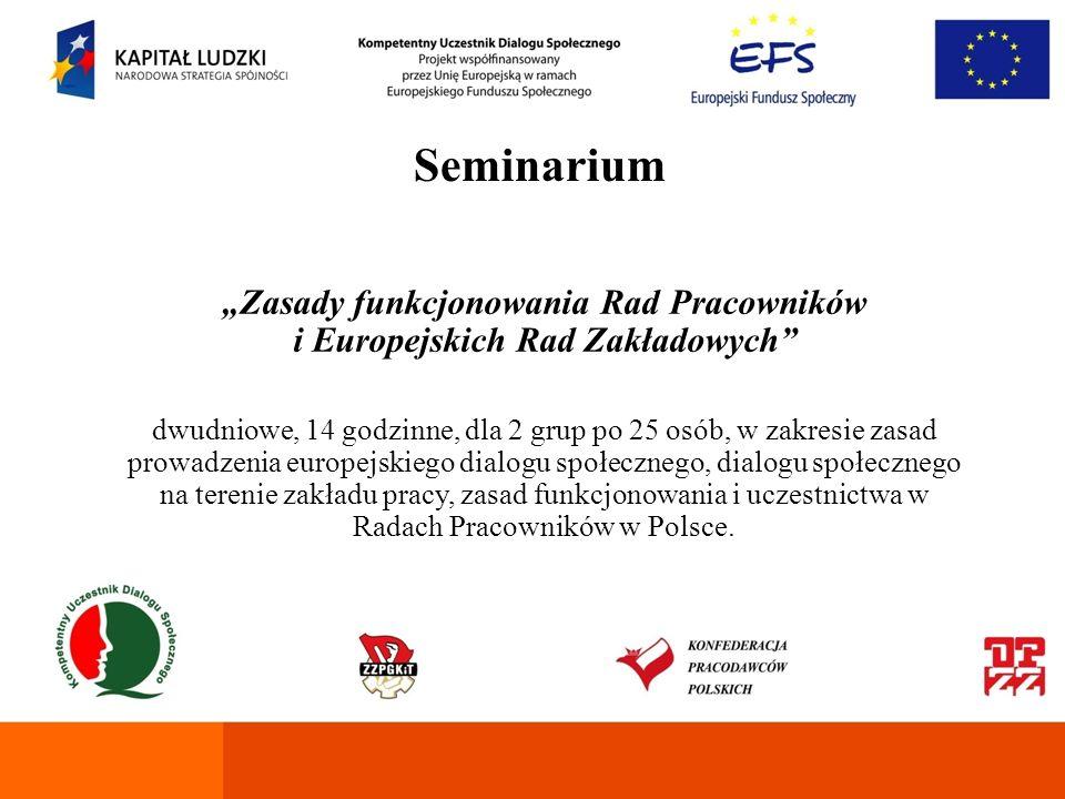 Seminarium Fundusze Europejskie dla organizacji dialogu społecznego dwudniowe, 14 godzinne, dla 2 grup po 25 osób, w zakresie charakterystyki dostępnych funduszy z programowania na lata 2007-2013, dokumentacji niezbędnej do umiejętnego i skutecznego aplikowania o fundusze europejskie (w tym: Regionalne Programy Operacyjne, Program Operacyjny Kapitał Ludzki, Program Operacyjny Rozwój Polski Wschodniej).