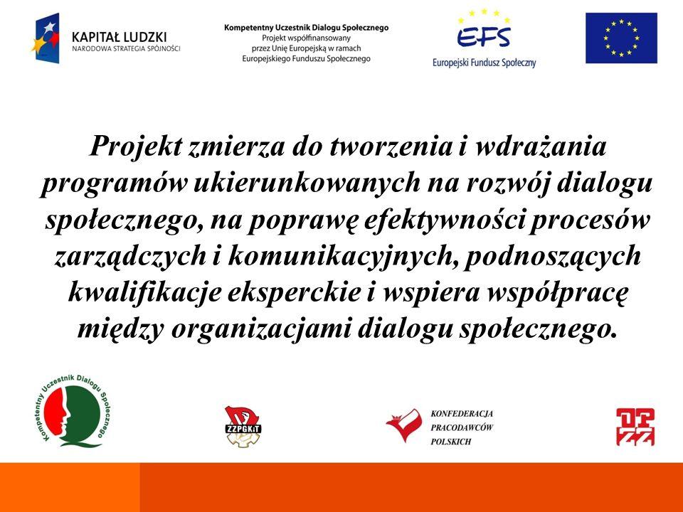 Cele horyzontalne Jesteśmy przekonani, że projekt przyczyni się do opracowania koncepcji instytucjonalnego i informatycznego wsparcia dialogu społecznego, wyposaży kadry i przedstawicieli organizacji partnerów społecznych w niezbędne kompetencje i wesprze merytorycznie reprezentatywne organizacje partnerów społecznych.