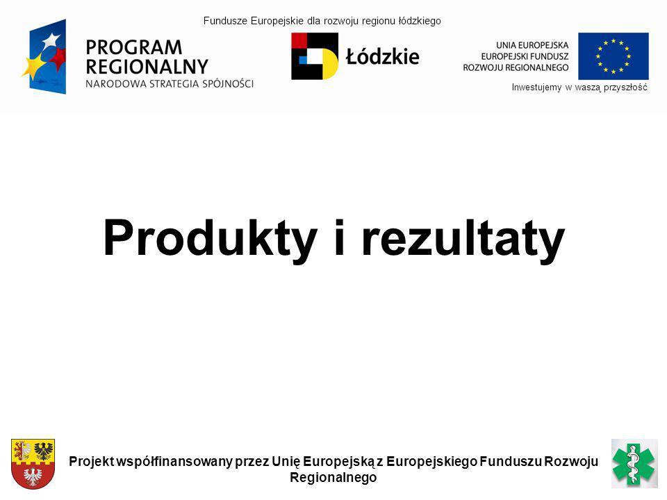 Inwestujemy w waszą przyszłość Projekt współfinansowany przez Unię Europejską z Europejskiego Funduszu Rozwoju Regionalnego Produkty i rezultaty Fundu