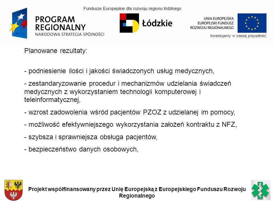 Inwestujemy w waszą przyszłość Projekt współfinansowany przez Unię Europejską z Europejskiego Funduszu Rozwoju Regionalnego Planowane rezultaty: - pod