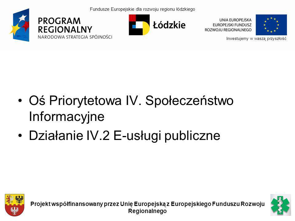 Oś Priorytetowa IV. Społeczeństwo Informacyjne Działanie IV.2 E-usługi publiczne Inwestujemy w waszą przyszłość Projekt współfinansowany przez Unię Eu