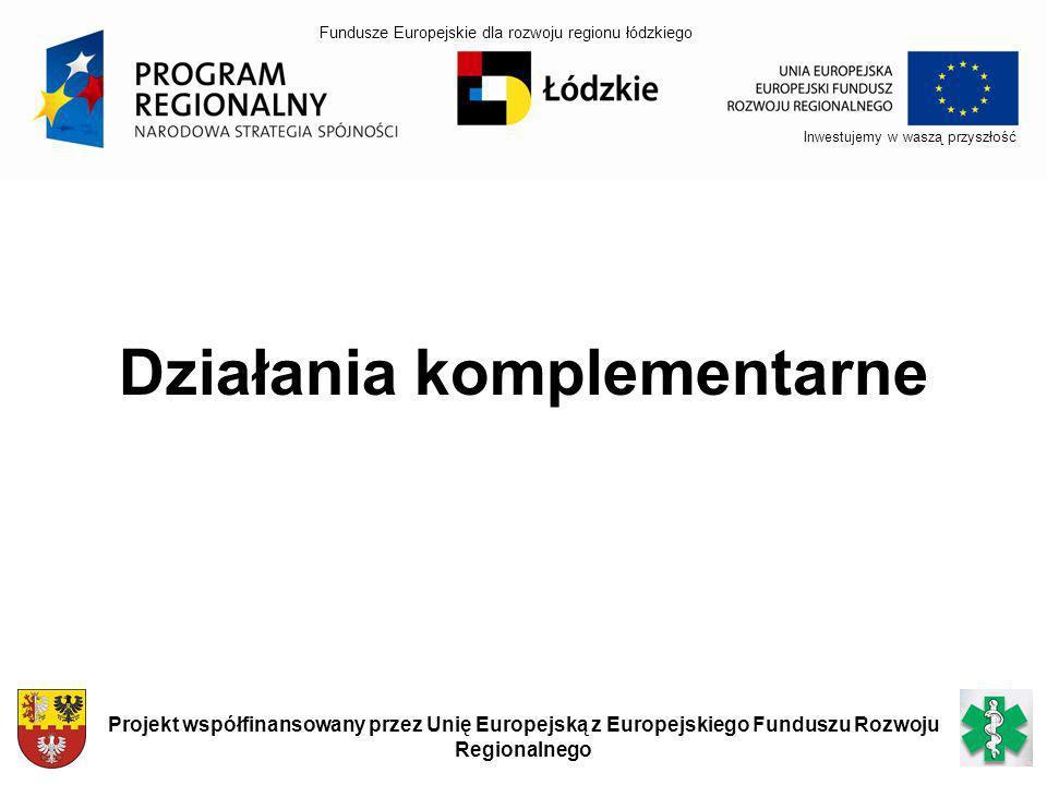Inwestujemy w waszą przyszłość Projekt współfinansowany przez Unię Europejską z Europejskiego Funduszu Rozwoju Regionalnego Działania komplementarne F