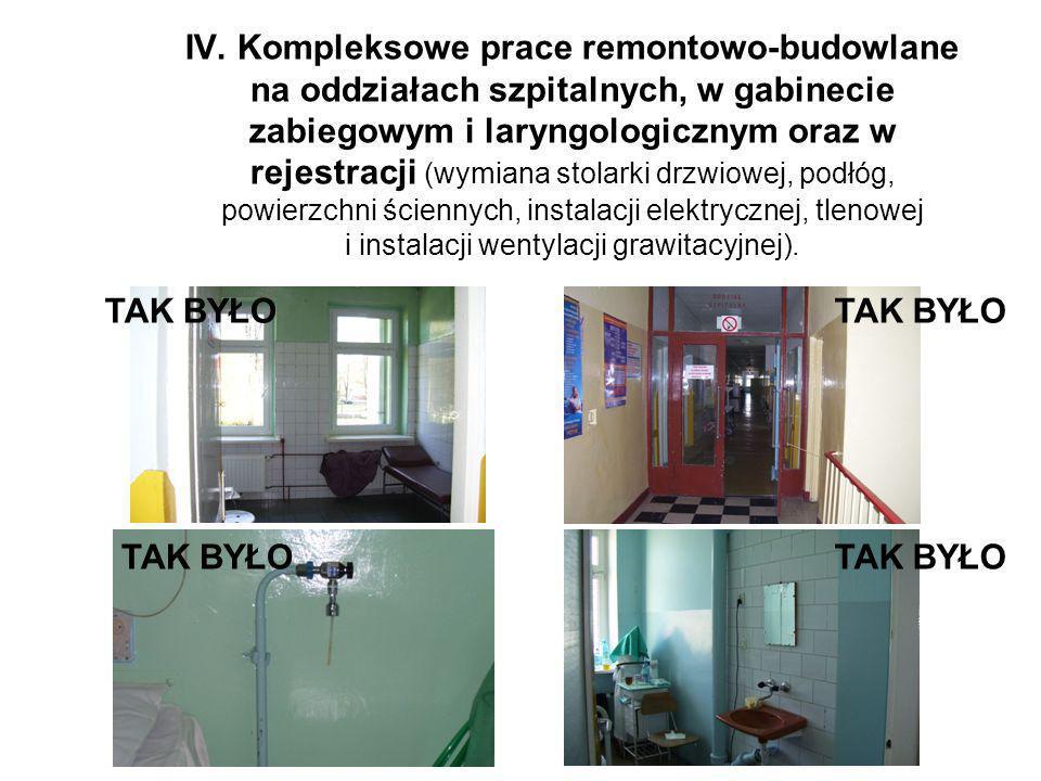 IV. Kompleksowe prace remontowo-budowlane na oddziałach szpitalnych, w gabinecie zabiegowym i laryngologicznym oraz w rejestracji (wymiana stolarki dr