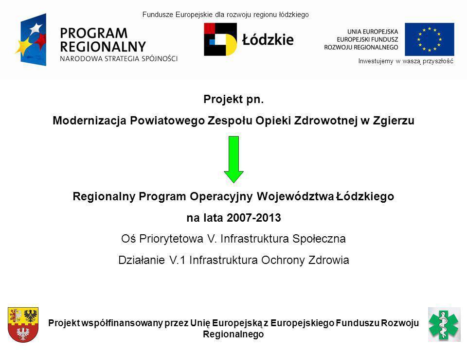 Inwestujemy w waszą przyszłość Projekt współfinansowany przez Unię Europejską z Europejskiego Funduszu Rozwoju Regionalnego Projekt pn. Modernizacja P