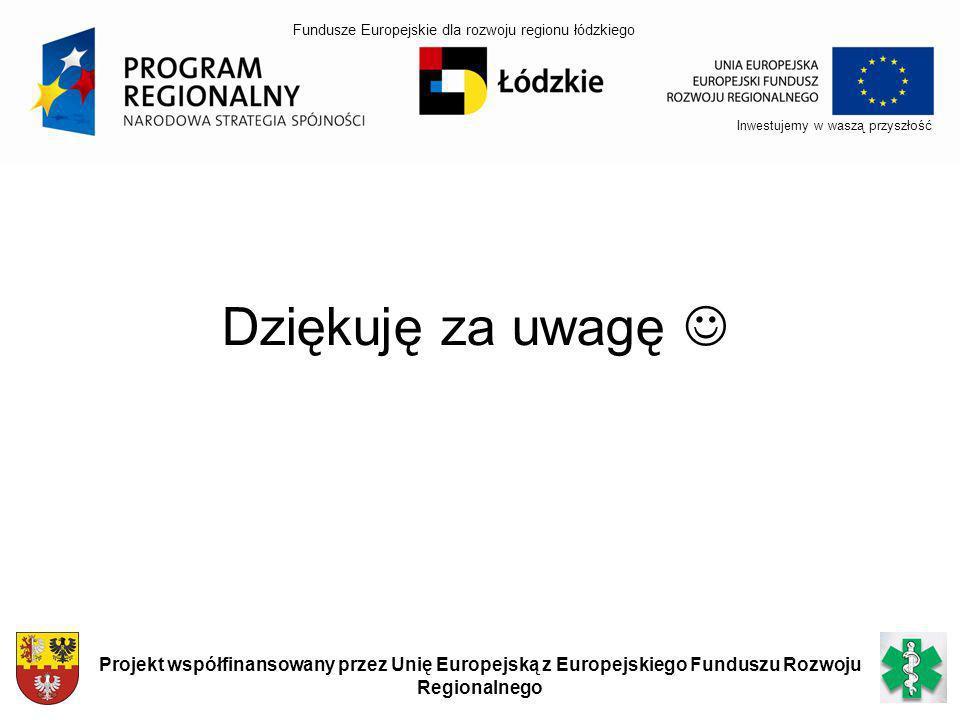 Dziękuję za uwagę Inwestujemy w waszą przyszłość Projekt współfinansowany przez Unię Europejską z Europejskiego Funduszu Rozwoju Regionalnego Fundusze