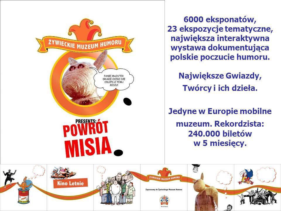 6000 eksponatów, 23 ekspozycje tematyczne, największa interaktywna wystawa dokumentująca polskie poczucie humoru. Największe Gwiazdy, Twórcy i ich dzi