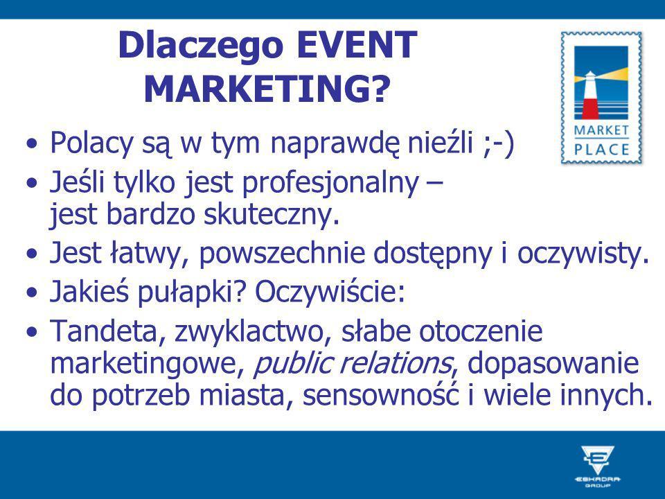 Dlaczego EVENT MARKETING? Polacy są w tym naprawdę nieźli ;-) Jeśli tylko jest profesjonalny – jest bardzo skuteczny. Jest łatwy, powszechnie dostępny