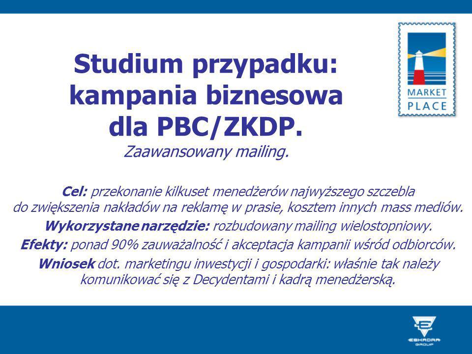 Studium przypadku: kampania biznesowa dla PBC/ZKDP. Zaawansowany mailing. Cel: przekonanie kilkuset menedżerów najwyższego szczebla do zwiększenia nak