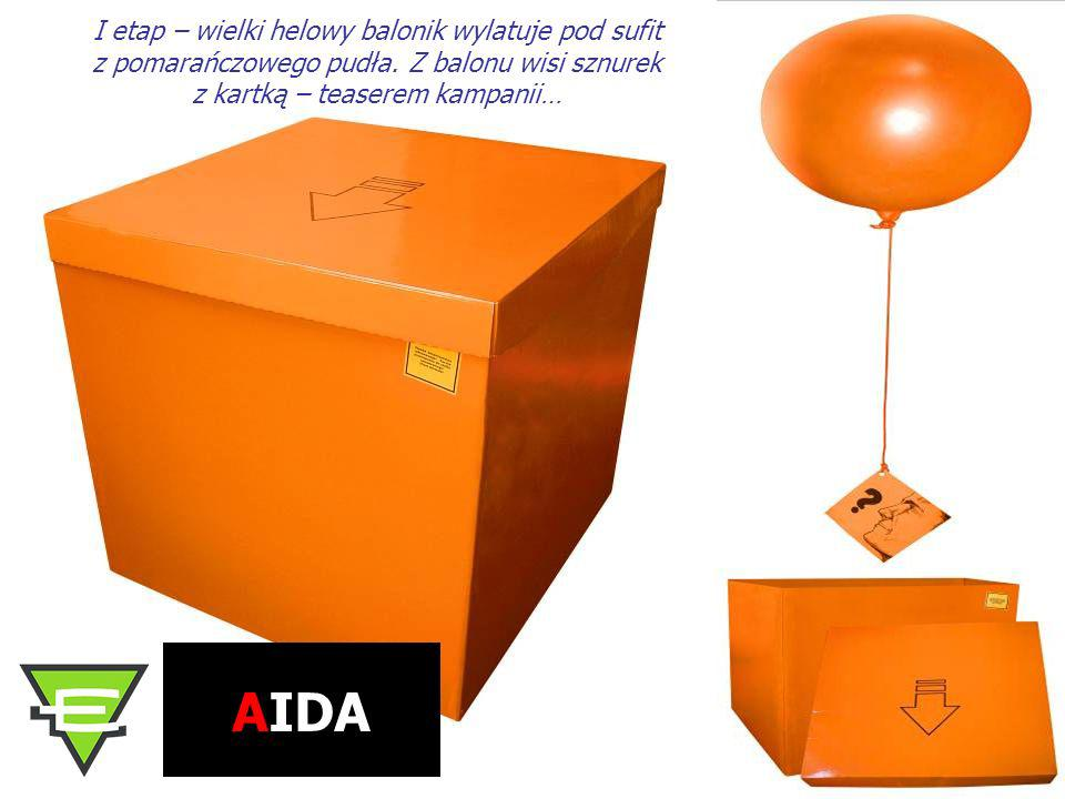 I etap – wielki helowy balonik wylatuje pod sufit z pomarańczowego pudła. Z balonu wisi sznurek z kartką – teaserem kampanii… AIDA