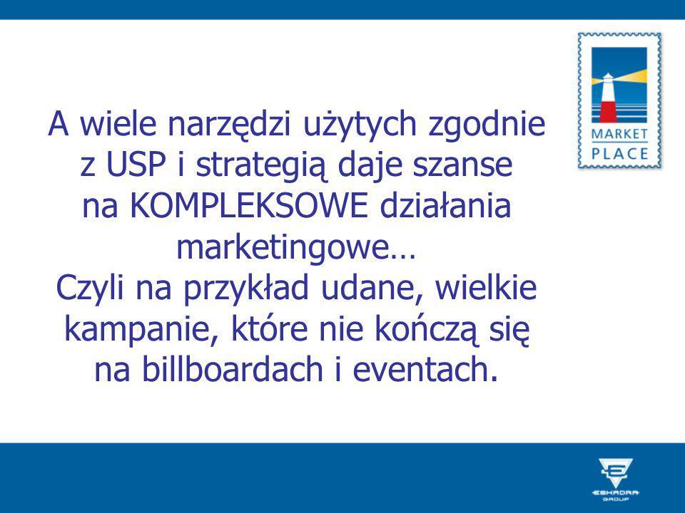 A wiele narzędzi użytych zgodnie z USP i strategią daje szanse na KOMPLEKSOWE działania marketingowe… Czyli na przykład udane, wielkie kampanie, które nie kończą się na billboardach i eventach.