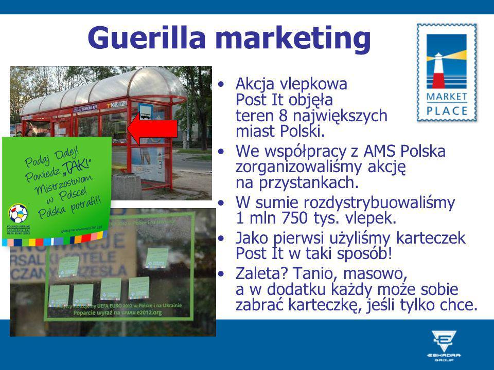 Guerilla marketing Akcja vlepkowa Post It objęła teren 8 największych miast Polski. We współpracy z AMS Polska zorganizowaliśmy akcję na przystankach.