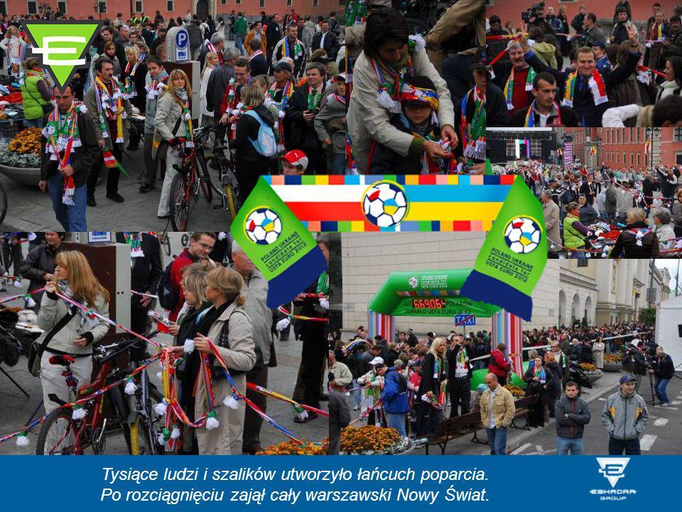 Tysiące ludzi i szalików utworzyło łańcuch poparcia. Po rozciągnięciu zajął cały warszawski Nowy Świat.
