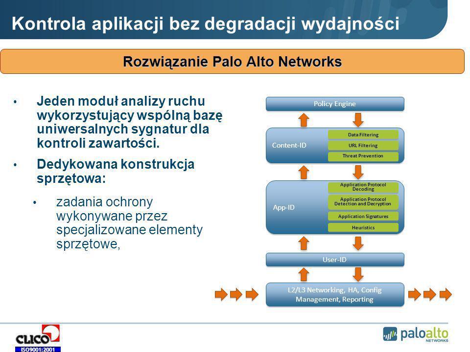 ISO9001:2001 Rozwiązanie Palo Alto Networks Kontrola aplikacji bez degradacji wydajności Jeden moduł analizy ruchu wykorzystujący wspólną bazę uniwersalnych sygnatur dla kontroli zawartości.