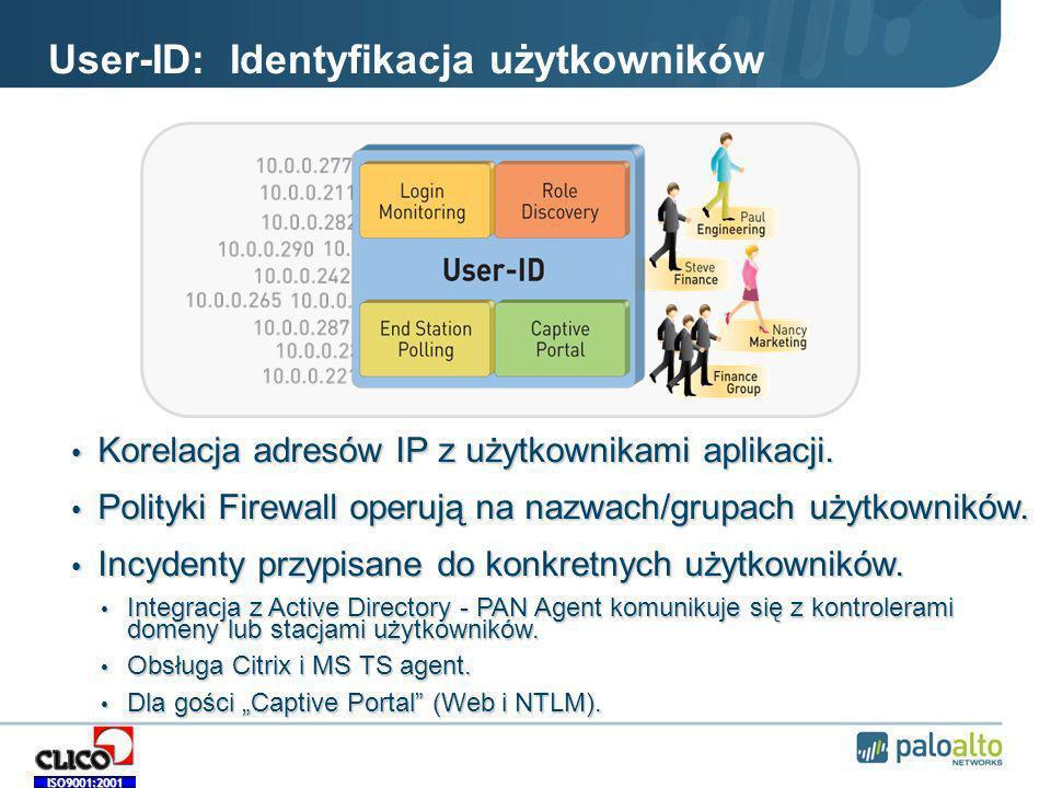 ISO9001:2001 User-ID: Identyfikacja użytkowników Korelacja adresów IP z użytkownikami aplikacji.