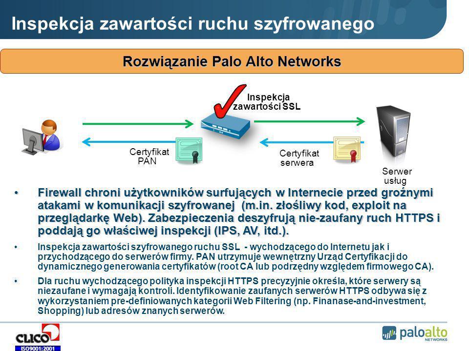ISO9001:2001 Inspekcja zawartości ruchu szyfrowanego Rozwiązanie Palo Alto Networks Certyfikat PAN Certyfikat serwera Serwer usług Inspekcja zawartości SSL Firewall chroni użytkowników surfujących w Internecie przed groźnymi atakami w komunikacji szyfrowanej (m.in.