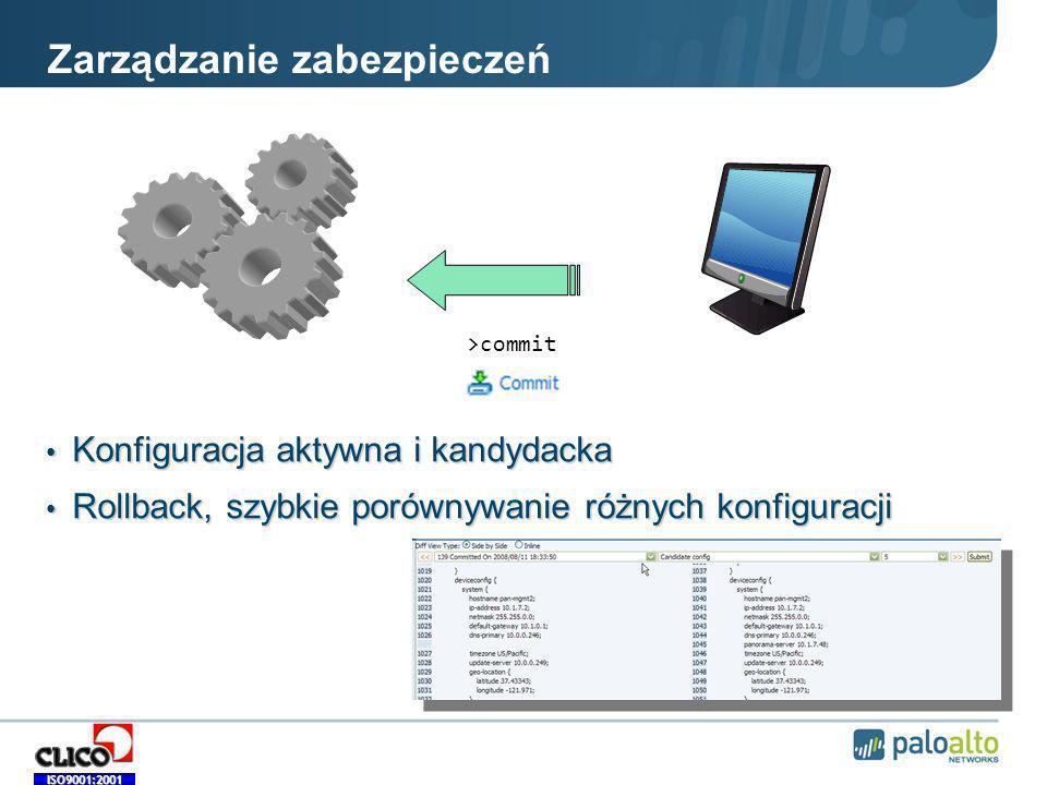 ISO9001:2001 Zarządzanie zabezpieczeń Konfiguracja aktywna i kandydacka Konfiguracja aktywna i kandydacka Rollback, szybkie porównywanie różnych konfiguracji Rollback, szybkie porównywanie różnych konfiguracji >commit
