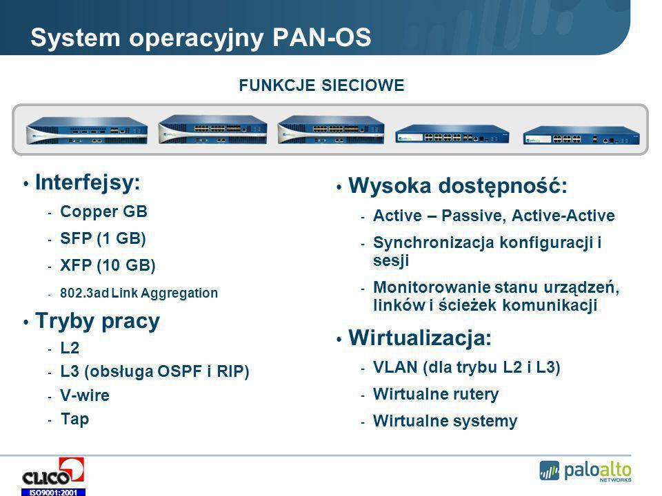 ISO9001:2001 System operacyjny PAN-OS Interfejsy: - Copper GB - SFP (1 GB) - XFP (10 GB) - 802.3ad Link Aggregation Tryby pracy - L2 - L3 (obsługa OSPF i RIP) - V-wire - Tap Wysoka dostępność: - Active – Passive, Active-Active - Synchronizacja konfiguracji i sesji - Monitorowanie stanu urządzeń, linków i ścieżek komunikacji Wirtualizacja: - VLAN (dla trybu L2 i L3) - Wirtualne rutery - Wirtualne systemy FUNKCJE SIECIOWE